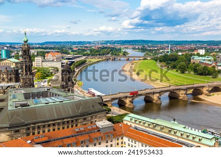 Panoramic view of Dresden and the river Elbe.