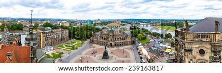 Panoramic view of Dresden, Germany. Semper Opera House