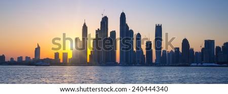 Panoramic view of Dubai at sunrise, UAE - stock photo