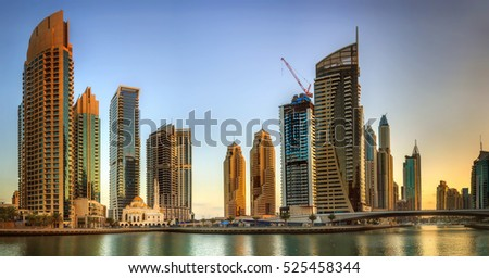 Panoramic view of Dubai Marina bay, UAE