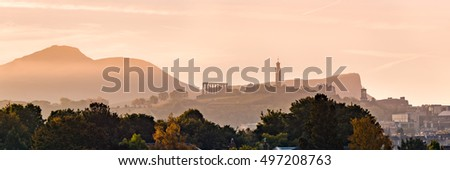 Panoramic view of Edinburgh's iconic Calton Hill from Inverleith at an October morning. Scotland, UK