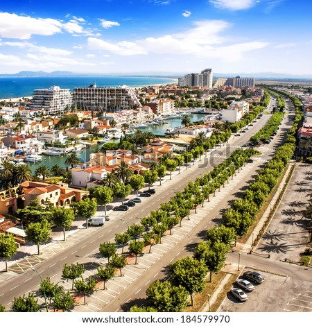 Panoramic view of Empuriabrava, Catalonia, Spain  - stock photo
