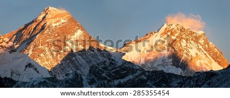 Panoramic view of Everest and Lhotse from Gokyo valley, way to Mount Everest base camp, Sagarmatha national park, Khumbu, Nepal - stock photo