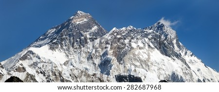 Panoramic view of Everest, Lhotse and Nuptse from Renjo pass, way to Everest base camp and three passes trek, Khumbu valley, Solukhumbu, Sagarmatha national park, Nepal - stock photo