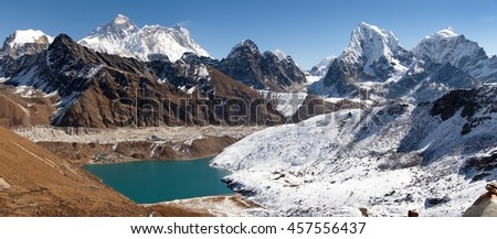 Panoramic view of Everest, Lhotse, Makalu and Gokyo Lake from Renjo La pass - way to Everest Base camp, Three passes trek, Khumbu valley, Sagarmatha national park, Nepal