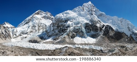 panoramic view of Everest, Nuptse, glacier and ice-fall khumbu from everest b.c. way to everest base camp - Nepal  - stock photo
