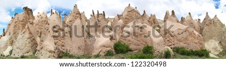 Panoramic view of fairy chimney in Cappadocia mountains - stock photo