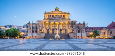 Panoramic view of famous Berlin Concert Hall at historic Gendarmenmarkt square in twilight during blue hour at dusk in summer, Berlin Mitte district, Germany