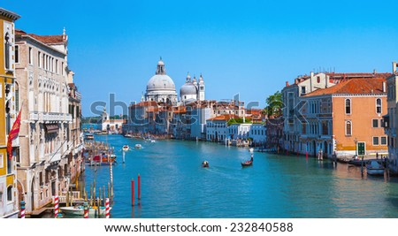 Panoramic view of famous Canal Grande and Basilica di Santa Maria della Salute in Venice, Italy. - stock photo