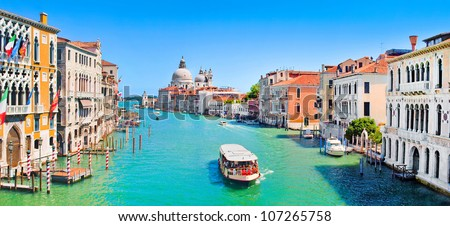 Panoramic view of famous Canal Grande in Venice, Italy - stock photo