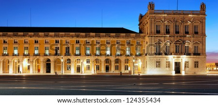 panoramic view of famous commerce square at Lisbon by night - stock photo