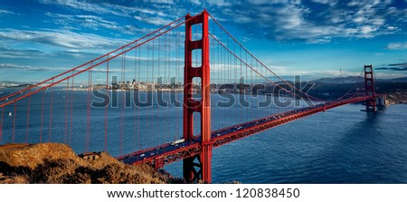 panoramic view of famous Golden Gate Bridge in San Francisco, California, USA