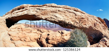 panoramic view of famous Mesa Arch, USA - stock photo