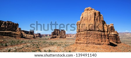 Panoramic view of famous Red Rock formations, located in Arches National Park in Moab, Utah - stock photo