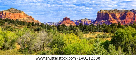 Panoramic view of famous red rock of Sedona, USA - stock photo