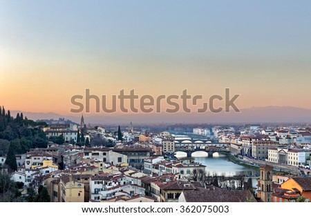 Panoramic view of Florence and Ponte Vecchio at Sunset