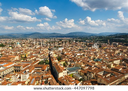 Panoramic view of Florence city, Tuscany, Italy. Florence is a popular tourist destination of Europe. - stock photo