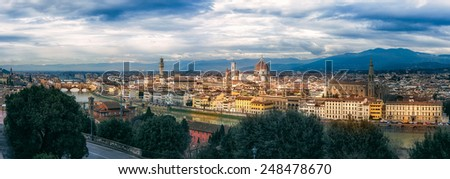 panoramic view of Florence in a cloudy day - stock photo