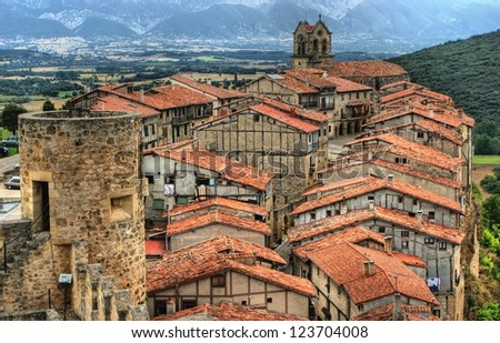 Panoramic view of Frias, Burgos, Spain
