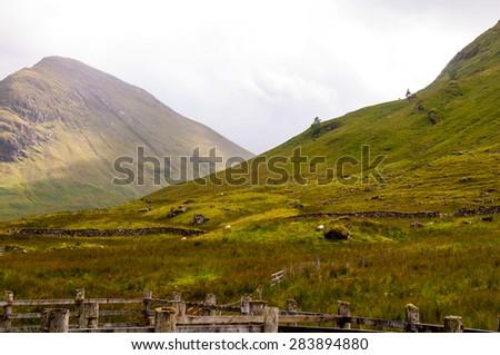 panoramic view of glencoe scotland - stock photo