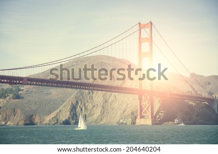 Panoramic view of Golden Gate bridge in San Francisco - stock photo