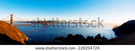 Panoramic view of Golden Gate bridge, San Francisco, USA. - stock photo