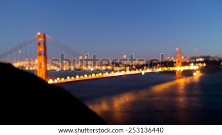 Panoramic view of Golden Gate bridge, San Francisco, USA. Out of focus image. - stock photo