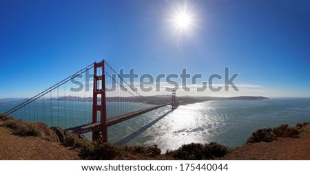 Panoramic View of Golden Gate bridge with midday sun, California, USA - stock photo