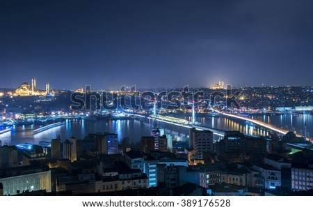Panoramic view of Golden Horn from Galata Tower. Istanbul, Turkey. - stock photo