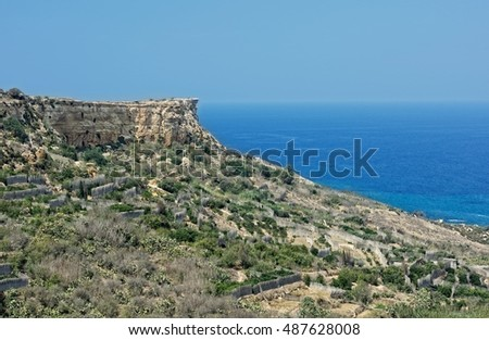 Panoramic view of Gozo, San Blas bay, Malta, Europe. Landscape in Gozo island, Malta. Pretty and tranquil beach San Blas in Gozo, Malta. Nadur area in Gozo