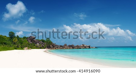 panoramic view of grand anse beach la digue island seychelles
