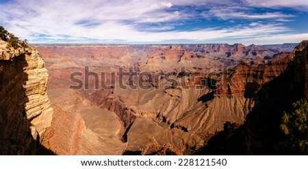 Panoramic view of Grand Canyon, Arizona, USA. Seen from Mather point. - stock photo