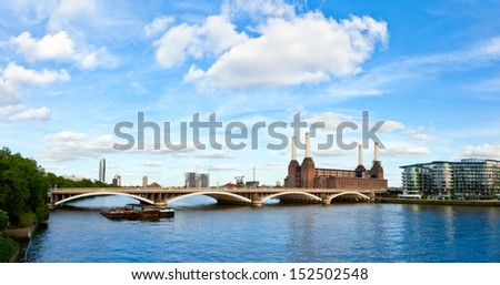 Panoramic view of Grosvenor Bridge with abandonded Battersea power station in London - stock photo