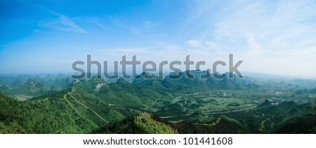 panoramic view of guilin hills,China - stock photo