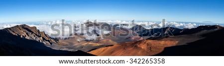 Panoramic view of Haleakala crater, Maui Hawaii - stock photo