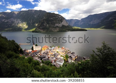 Panoramic view of Hallstatt and lake in a beautiful Alpine landscape, Austria - stock photo