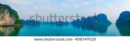 Panoramic view of Halong Bay, Vietnam, Southeast Asia - stock photo