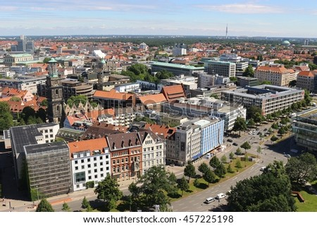 Panoramic view of Hanover, North Germany. Seen from the Top of the New City Hall. On the left one can see the Tower and Ruins of the Aegidien Church, mostly destroyed in Second World War. - stock photo