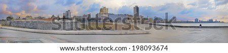 "Panoramic view of havana skyline and fortress ""La Punta"" in the waterfront  - stock photo"