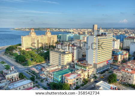 Panoramic view of  Havana with a view of the city skyline and its seaside buildings