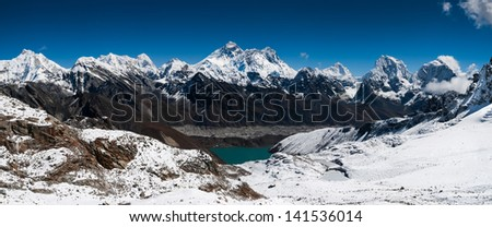 Panoramic view of Himalaya summits: Everest, Lhotse, Nuptse and others. Large resolution - stock photo