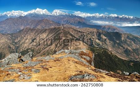 Panoramic view of himalayas range from Pikey peak - trek from Jiri Bazar to Everest base camp - Nepal - stock photo
