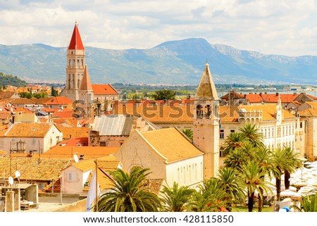 Panoramic view of Historic City of Trogir, Croatia. UNESCO WOrld Heritage Site - stock photo