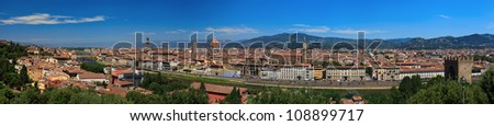 Panoramic view of historical center of Florence. Italy. Europe.