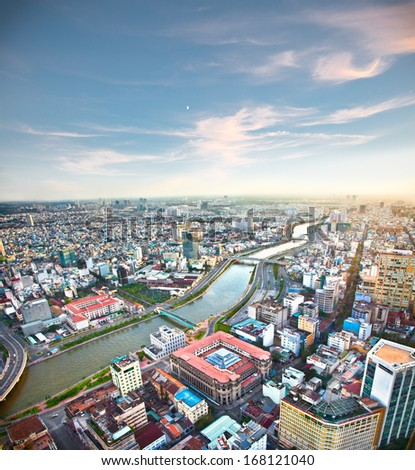 Panoramic view of Ho Chi Minh city or Saigon in sunset, Vietnam. - stock photo