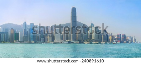 Panoramic view of Hong Kong island in the sunshine day