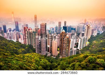 Panoramic view of Hong Kong skyline. China. - stock photo