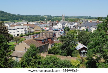 Panoramic view of Honiton, Devon - stock photo