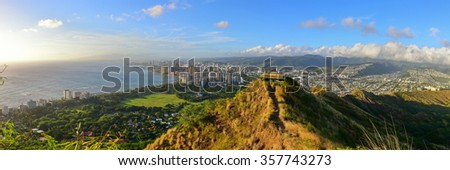 Panoramic view of Honolulu and Waikiki Beach area from summit of Diamond Head volcano in Oahu, Hawaii