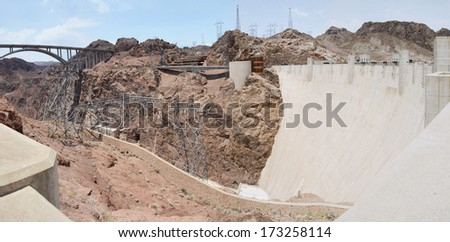 Panoramic view of Hoover Dam - concrete arch-gravity dam in the Black Canyon of the Colorado River, on the border between the US states of Arizona and Nevada - stock photo